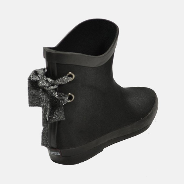 Black Print Ankle High Rain Booties Bow Rain Shoes