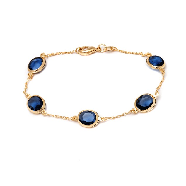 Gold Plated Crystal Bead Bracelet