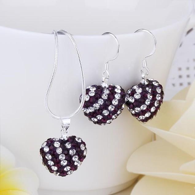 Austrian Stone Multi-Pave Heart Drop Earring and Necklace Set - Purple