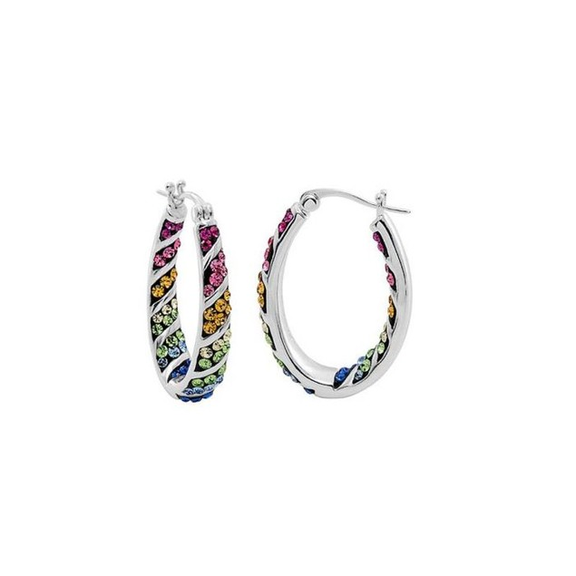 Inside Out Austrian Crystal Hoop Earrings