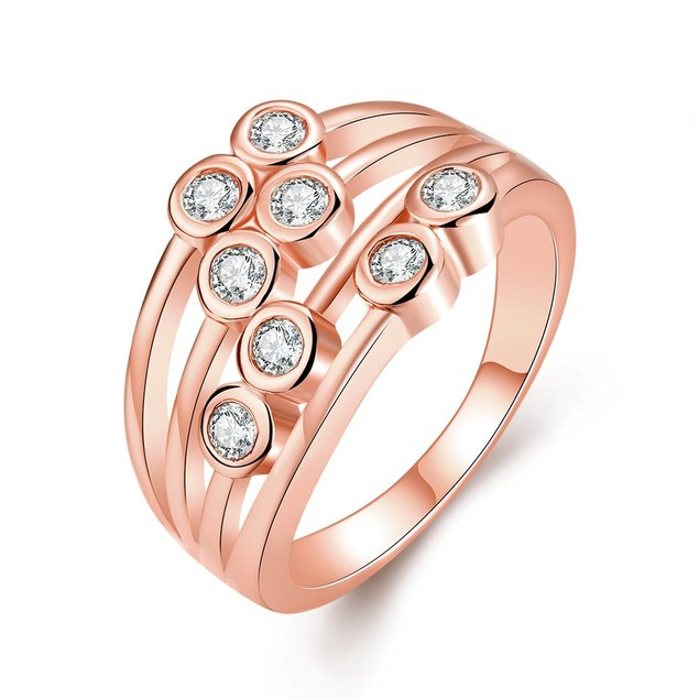 Rose Gold Plated Eight Crystal Jewels Line Ring