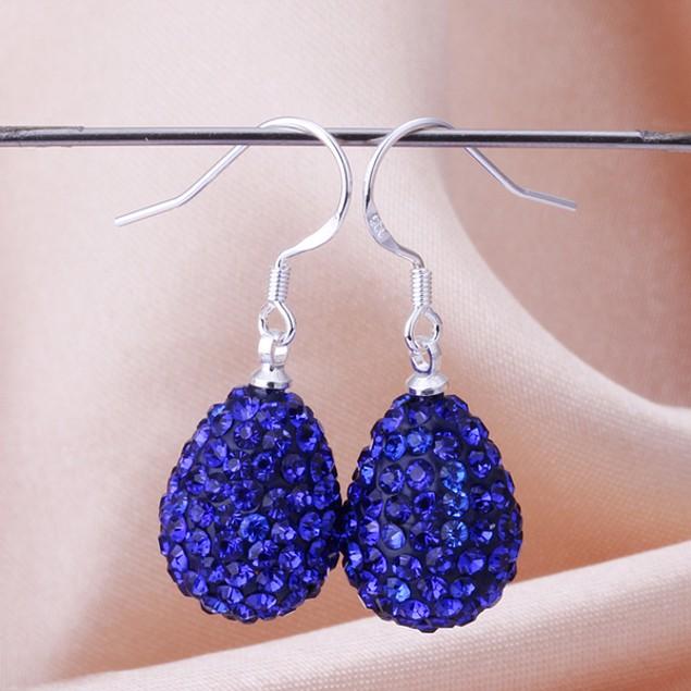 Pear Shaped Solid Austrian Stone Drop Earrings - Blue