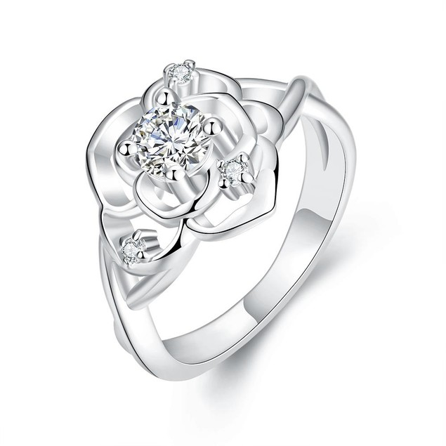 White Gold Plated Blossoming Floral Ring