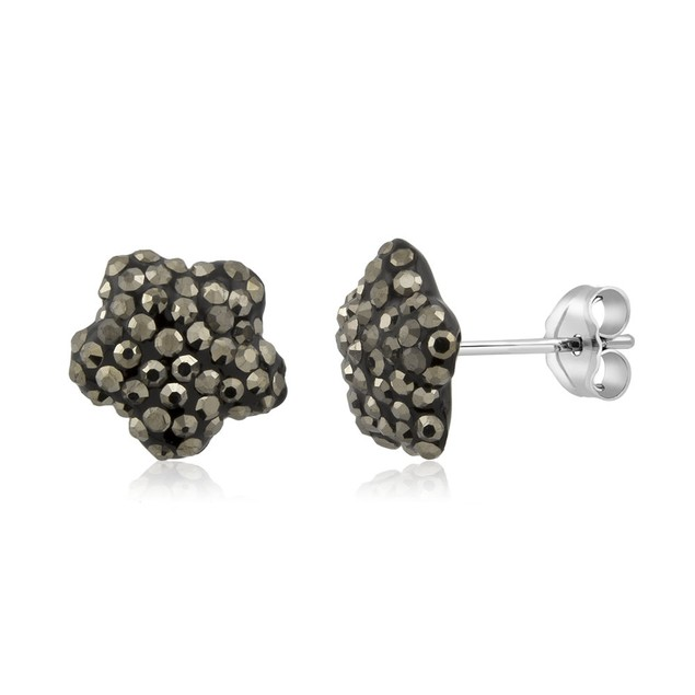 Sterling Silver Sparkling Crystal 10mm Stud Earrings - Flower Grey