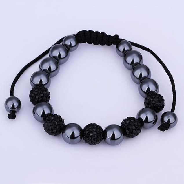 80's Glam Bracelet Beads and Dark Onyx Crystal