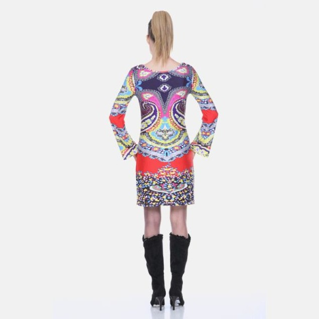 Abigail Red Multi-Color Print Dress