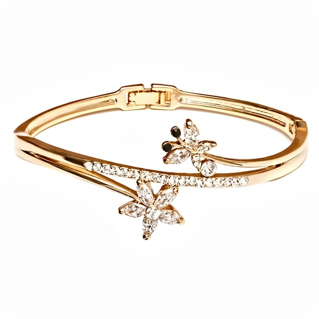 Gold & Crystal Butterfly & Flower Bangle