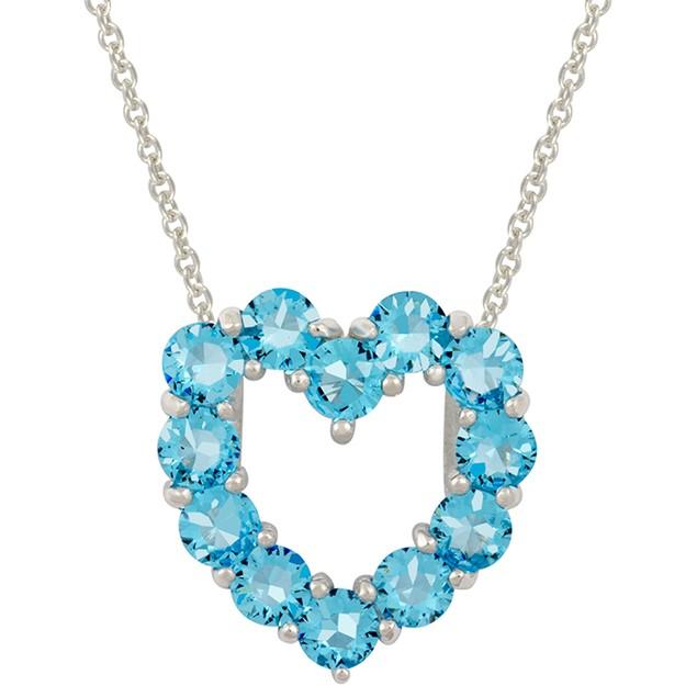 Sterling Silver Aqua Simulated Diamond Heart Pendant