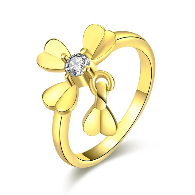 Gold Plated Petite Clover Ring