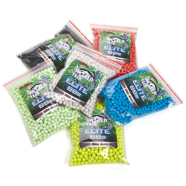 1000 World Tech Arms Elite Professional Grade Assorted Color .12g 6mm Airsoft BBs