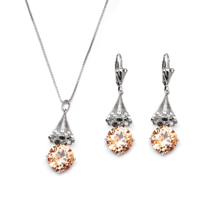Silver & Crystal Pine Drop Set Made with SWAROVSKI ELEMENTS