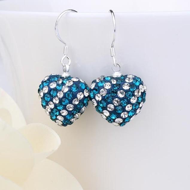 Two Toned Austrian Stone Hearts Drop Earrings -Dark Blue