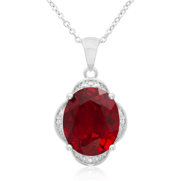 Created Ruby and Diamond Necklace