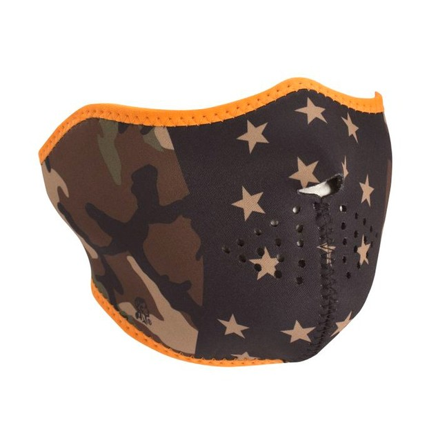 Neoprene 1/2 Mask - Camo Stars w/ Orange Piping