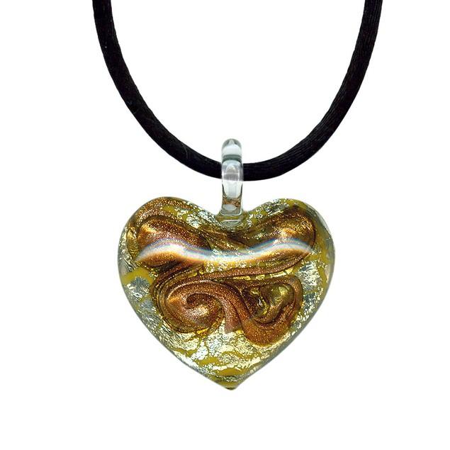 "Italian Citrine Yellow Colored Murano Glass Heart with Pure Platinum on 18"" Silk Cord"