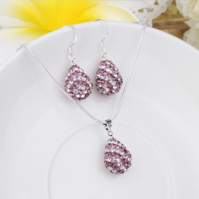 Austrian Stone Multi-Pave Pear Earring and Necklace Set - Swirl Purple