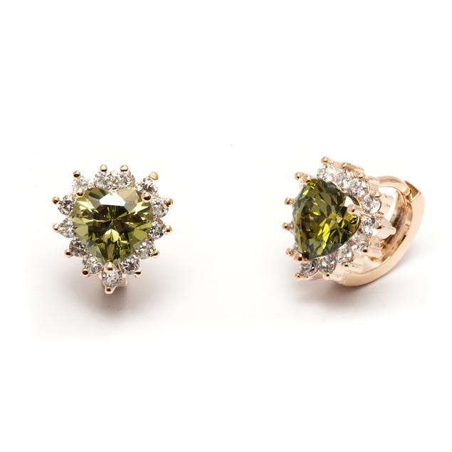 Olivine Crystal Heart Huggie Earrings