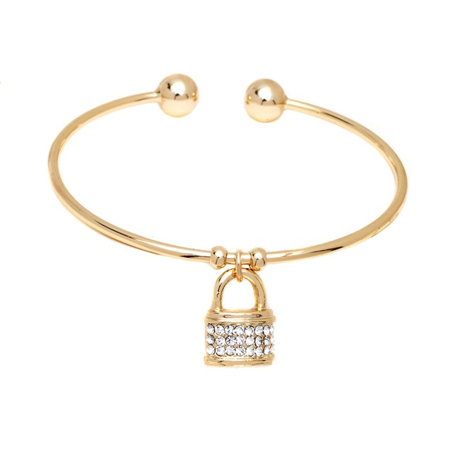 Clear Swarovski Elements Lock Charm Bangle
