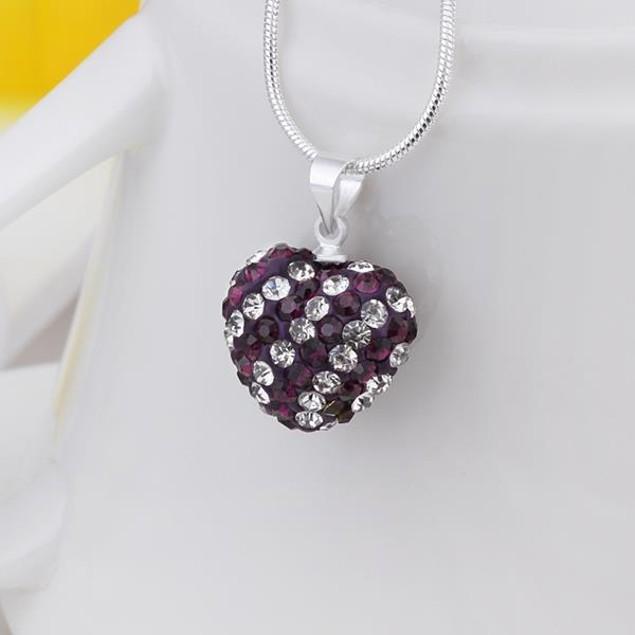 Multi-Toned Austrian Stone Heart Shaped Necklace - Purple