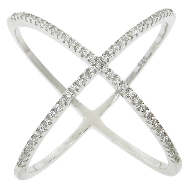 "Sterling Silver Pave ""X"" Ring with CZ Stones"