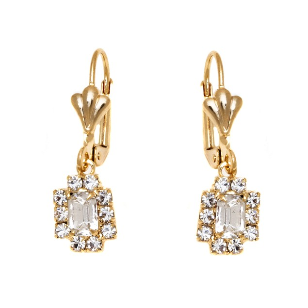 Crystal & Gold Rectangle Frame Drop Earrings