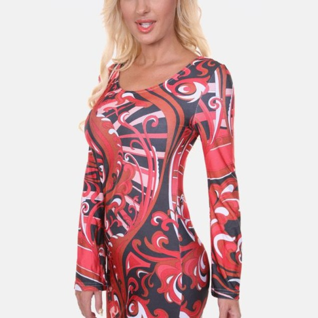 White Mark Guilana Long Sleeve Red Print Dress