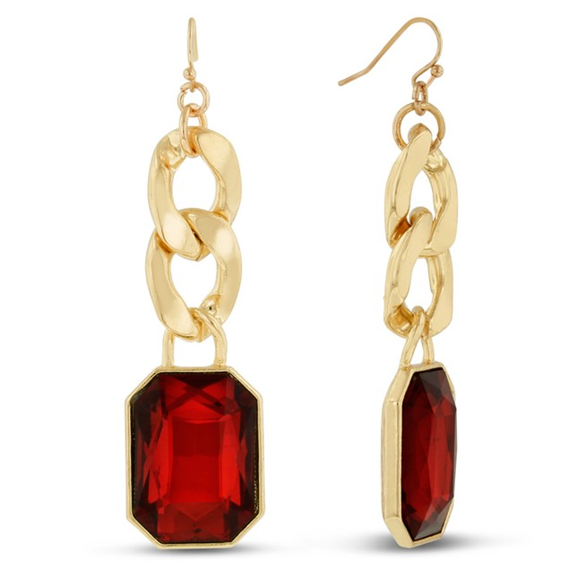 18 Karat Gold Plated Ruby Red Glass And Chain Dangle Earrings