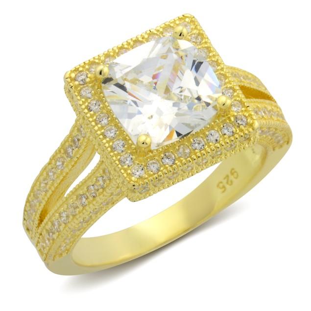 Sterling Silver Split Shank Princess Cut Cubic Zirconia Ring - 2 Colors