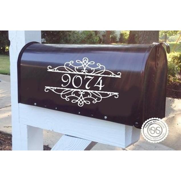 White Split Vinyl Mailbox Decal