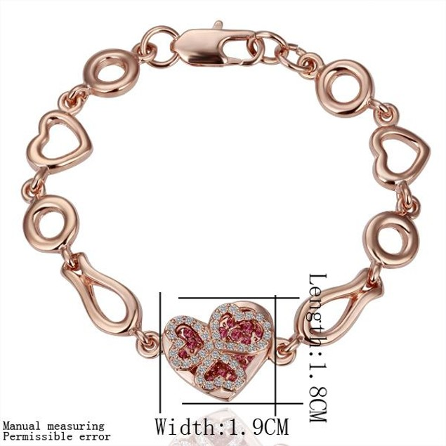 Gold Plated Heart Bracelet with Austrian Crystal