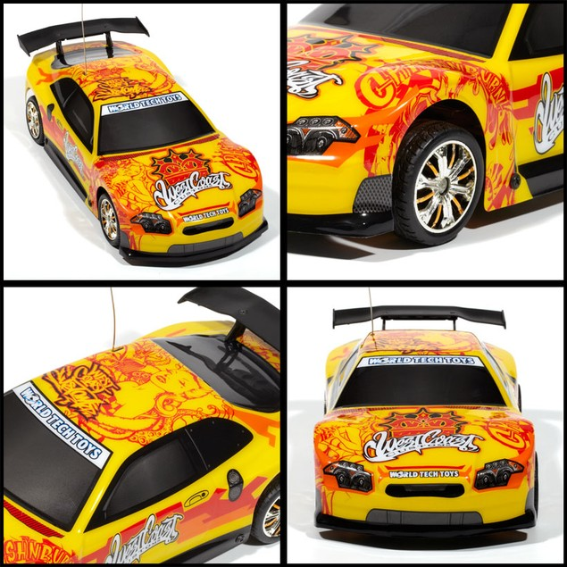 Licensed West Coast Customs Yellow Tuner Style Extreme Ryders 1:18 RTR RC