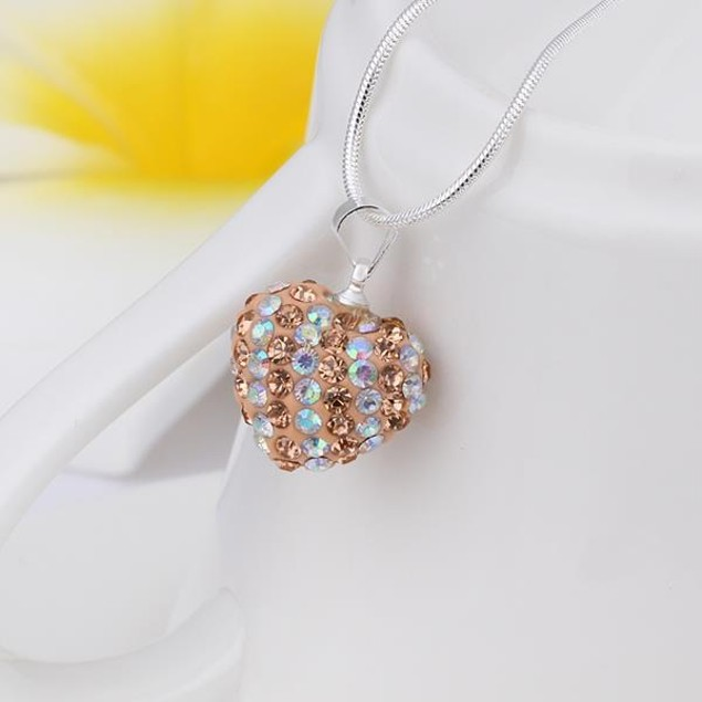Multi-Toned Austrian Stone Heart Shaped Necklace - Vivid Light Champagne