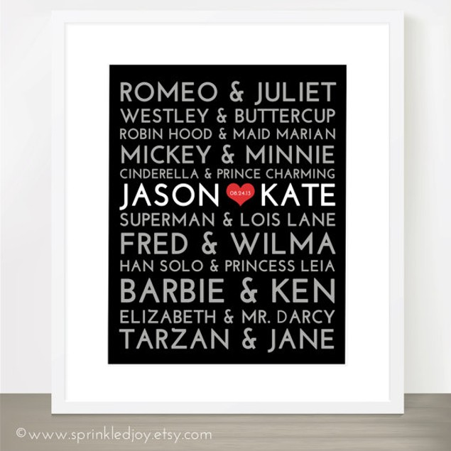 Personalized Famous Couples Print