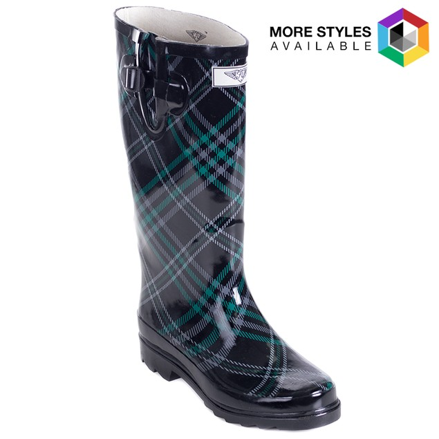 Forever Young Women's Tall Rubber Design Rain Boots