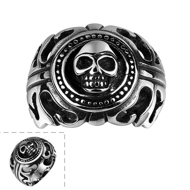 Skull Emblem Abstract Stainless Steel Ring
