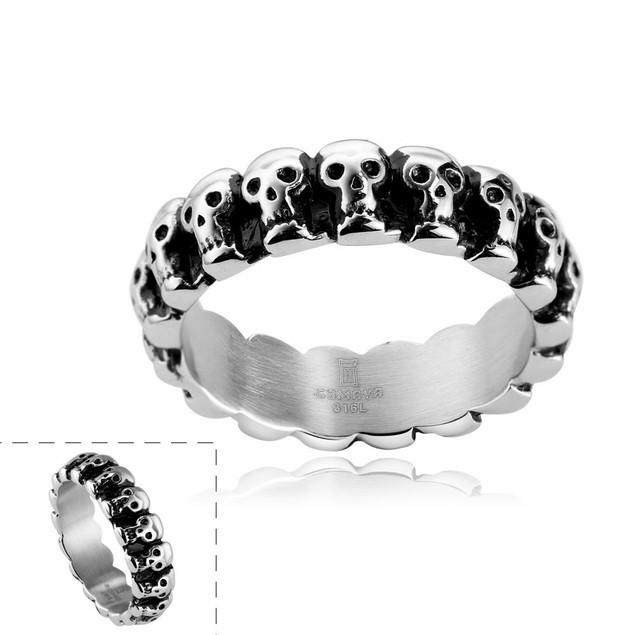 Line of Skulls Stainless Steel Ring