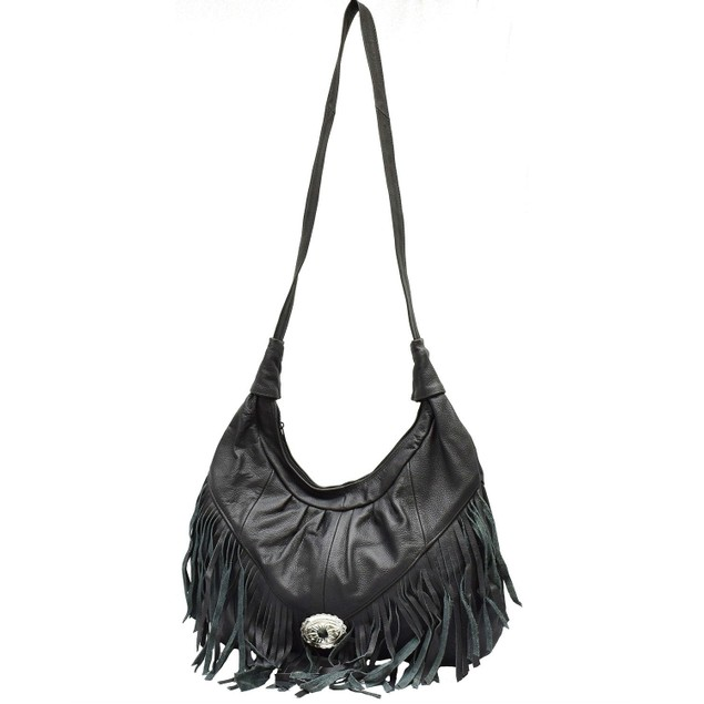 The AFONiE Fringed Large Leather Crossbody