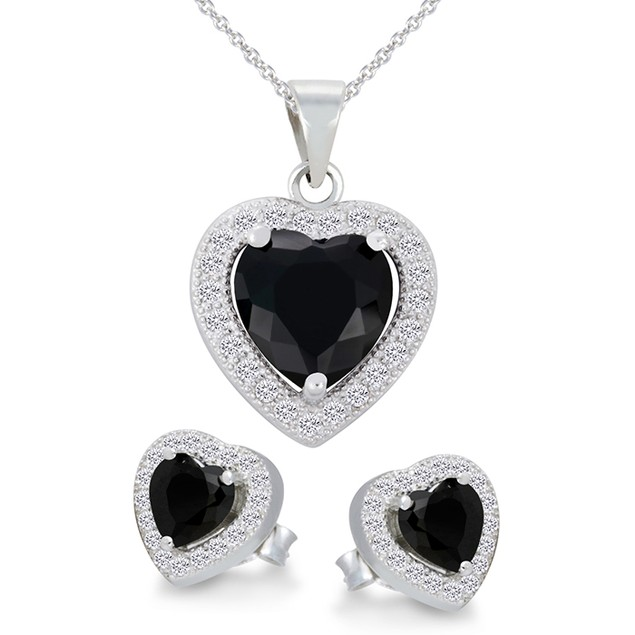 Sterling Silver Black Imitation Diamond Halo Necklace & Earring Set