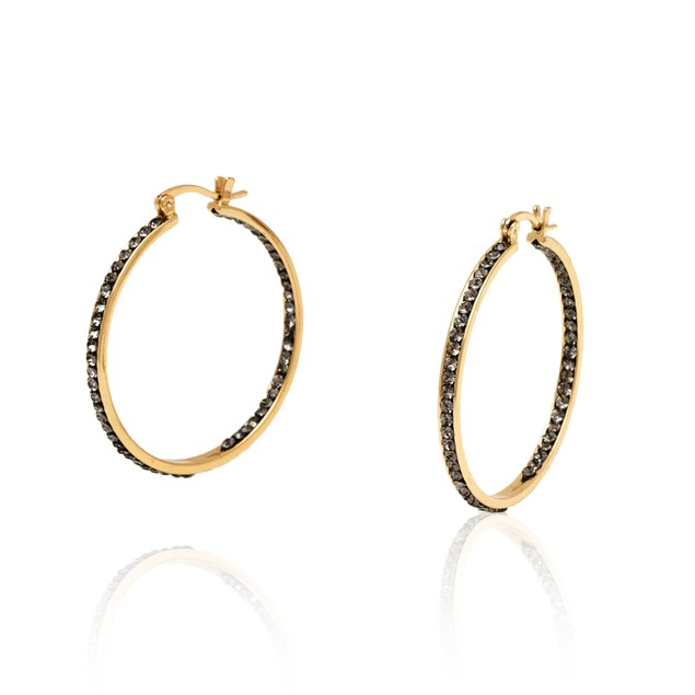 Gold and Pewter 40mm Inside Outside Hoop Earrings