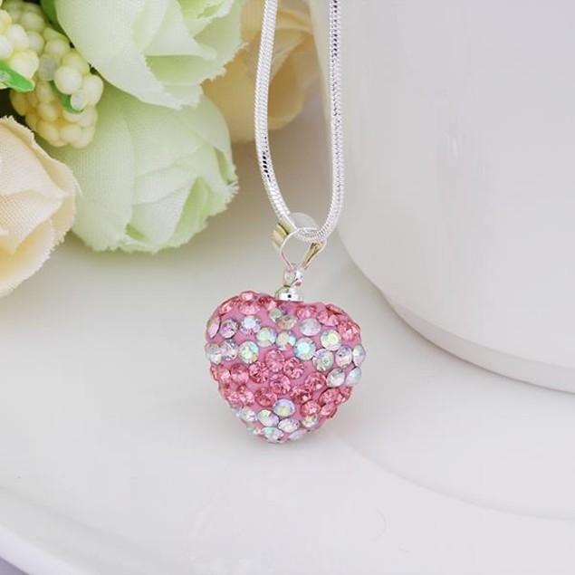 Multi-Toned Austrian Stone Heart Shaped Necklace - Vivid Pink