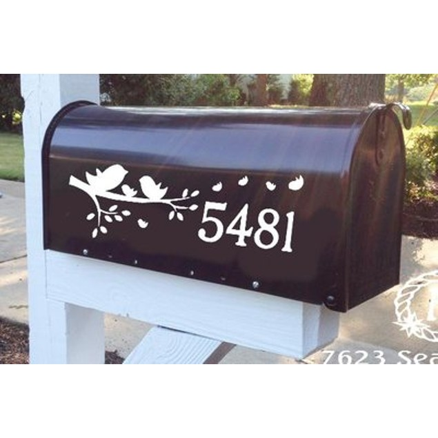 Blowing Leaves Bird Mailbox Decal