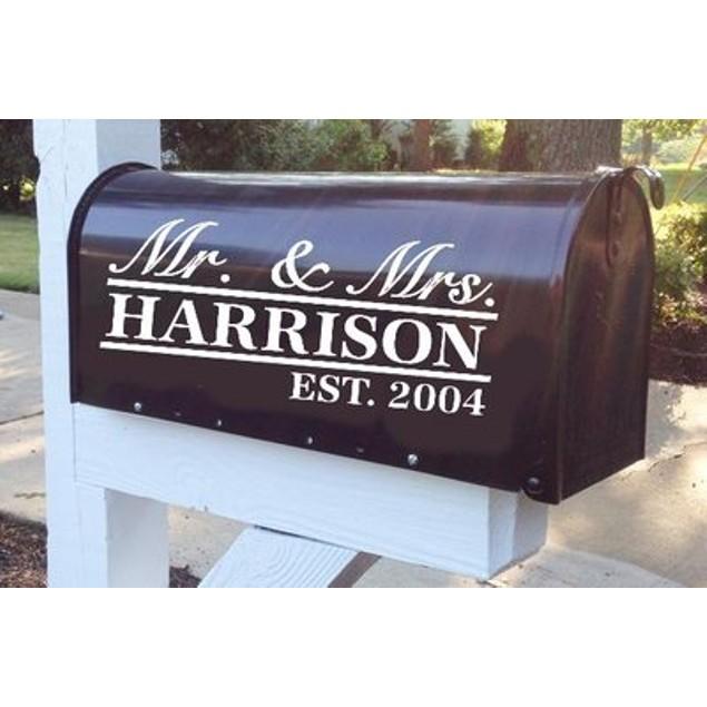 Mr. & Mrs. Established Vinyl Mailbox Decal