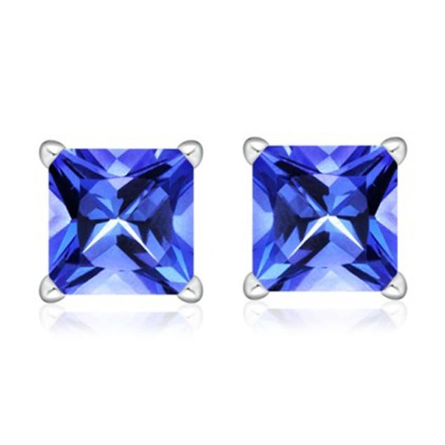 2 CTW Tanzanite Earrings - Princess