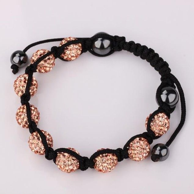 80's Glam Eight Beads Austrian Crystal Bracelet - Bright Champagne
