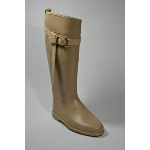 Fashion Equestrian Waterproof Rain Boots - Taupe