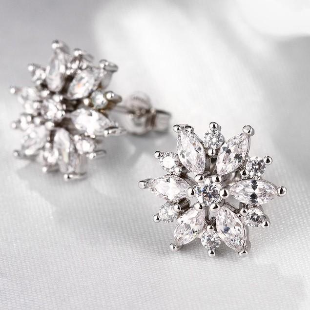 Italian White Gold Plated Crystal Stud Earring