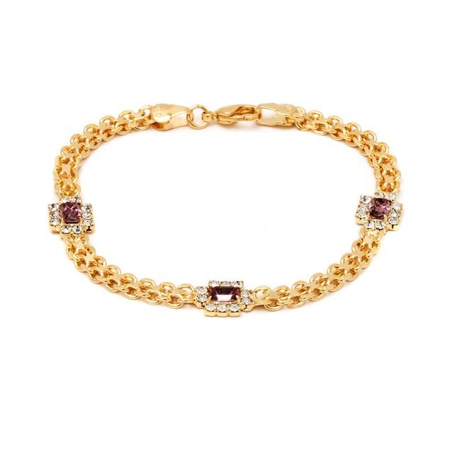 18K Gold Purple Crystal Bracelet