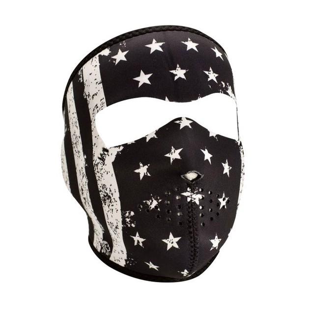 Neoprene Full Face Mask - Black/White Vintage Flag