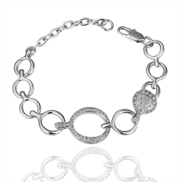 White Gold Plated Silver Hollow Circles Bracelet with Austrian Crystal