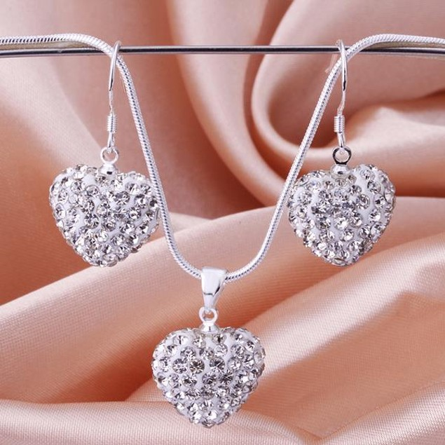 Austrian Stone Solid-Pave Heart Earring and Necklace Set - Solid White
